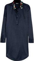 DKNY Embellished stretch-silk satin shirt dress