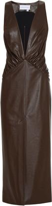 ALEKSANDRE AKHALKATSISHVILI Deep-V Faux Leather Midi Dress