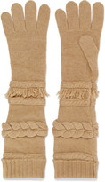 Agnona Paneled wool and cashmere-blend gloves
