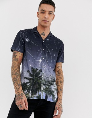 Twisted Tailor viscose revere collar shirt with lightening print