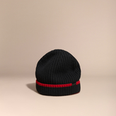 Burberry Ribbed Cashmere Tipped Beanie, Black