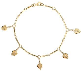 Kiki McDonough 18kt yellow gold Lauren diamond plain leaf bracelet