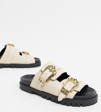 ASRA Exclusive Sierra embellished footbed sandals in croc embossed leather