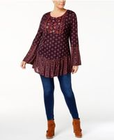 Style&Co. Stye & Co Plus Size Mixed-Print Ruffled Tunic, Created for Macy's