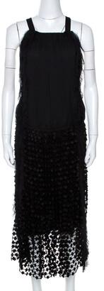 Chloé Black Crepe Lace Skirt Trim Fringed Sleeveless Dress M
