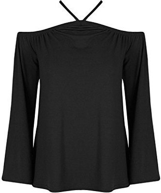 Fashion Star Womens Summer Loose Fit Off Shoulder Bell Sleeve Shirt Blouse Top Black