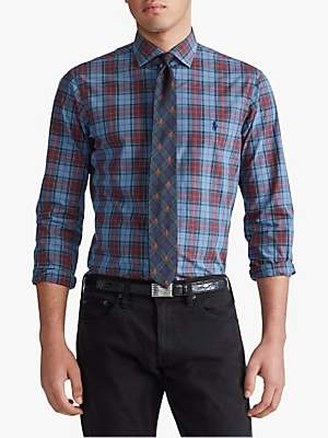 Ralph Lauren Polo Check Sports Shirt, Steel Blue/Wine Multi