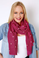 Yours Clothing Pink Floral Print Glitter Scarf
