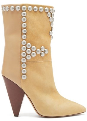 Isabel Marant Layo Studded Cone-heel Suede And Leather Boots - Beige