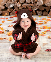 Baby Aspen Red & Brown Beary Hooded Robe - Infant