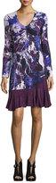 Roberto Cavalli Long-Sleeve Floral Ruffle-Hem Dress, Purple