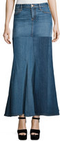 Roberto Cavalli Five-Pocket Denim Godet Maxi Skirt, Washed Indigo