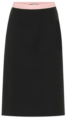 Gucci Wool-blend jersey midi skirt