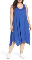 Plus Size Women's Caslon Handkerchief Hem Slub Knit Tank Dress