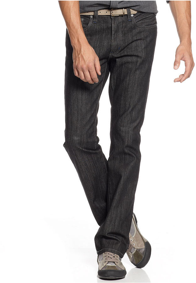 Kenneth Cole Reaction Jeans, Straight Fit Black Wash Jeans