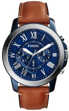 Fossil Men's Chronograph Grant Light Brown Leather Strap Watch 44mm