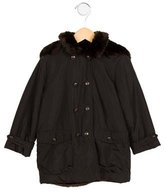 Bonpoint Girls' Faux Fur-Accented Hooded Coat