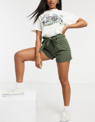 Miss Selfridge tencel shorts in khaki