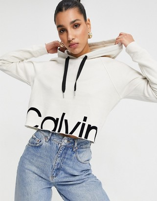 Calvin Klein front logo hoodie in white