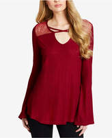 Jessica Simpson Juniors' Mesh-Trim Bell-Sleeve Top