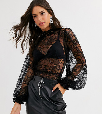 Asos DESIGN Tall lace long sleeve shirred top in black
