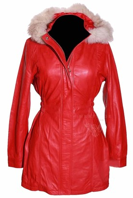H.E Juliet Red Ladies Detachable Fur Hood Military Style Elasticated Waist Knee Length Designer Winter Real Lambskin Leather Parka Coat (Sizes: 8 to 22 Available) (Size: 16)