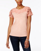 Charter Club Cotton Lace-Sleeve Top, Only at Macy's