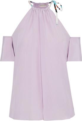 Emilio Pucci Cold-shoulder Silk Crepe De Chine Blouse