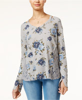 American Rag Printed Waffle-Knit Lace-Side Top, Only at Macy's