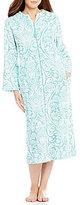 Miss Elaine Damask Luxe Fleece Zip Robe