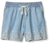 Gap Floral embroidery pull-on denim shorts