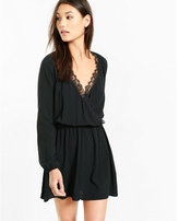 Express lace trim surplice mini dress