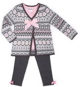 Little Lass Pink & Gray Snowflake Sweater & Legging Set - Infant Toddler & Girls