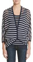 Fuzzi Striped Blouson Cardigan
