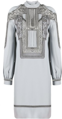 Alberta Ferretti Embroidered Long-Sleeve Mini Dress