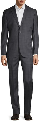 Kenneth Cole New York Regular-Fit Windowpane Plaid Wool Suit