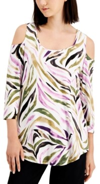 JM Collection Zebra-Print Cold-Shoulder Top, Created for Macy's