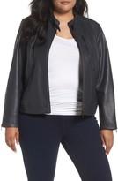 Bernardo Plus Size Women's Jetta Knit Detail Leather Scuba Jacket