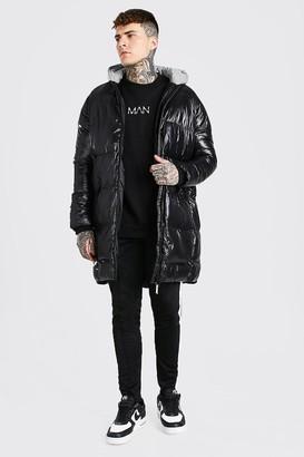 boohoo Mens Black High Shine Longline Puffer With Reflective Hood, Black
