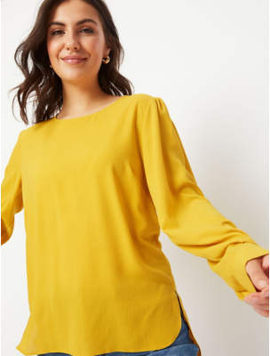 George Mustard Yellow Textured Button Back Blouse