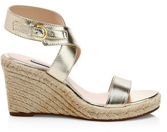 Stuart Weitzman Lexia Metallic Leather Espadrille Wedges
