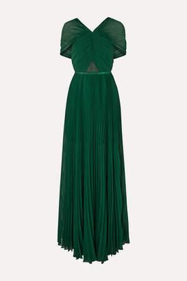 Self-Portrait Pleated Grosgrain-trimmed Chiffon Maxi Dress - Forest green