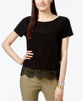 CeCe Scalloped Lace-Trim T-Shirt