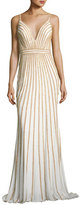 Jovani Sleeveless Beaded Evening Gown, White/Gold