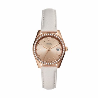 Fossil Women's Scarlette Mini Quartz Stainless Steel and Leather Casual Watch Color: Rose Gold Grey (Model: ES4556)