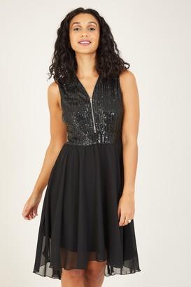 Yumi Black Sequin Asymmetric Dress