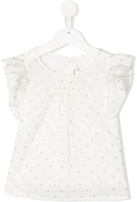 Bonpoint Polka Dot Ruffled-Sleeves Blouse