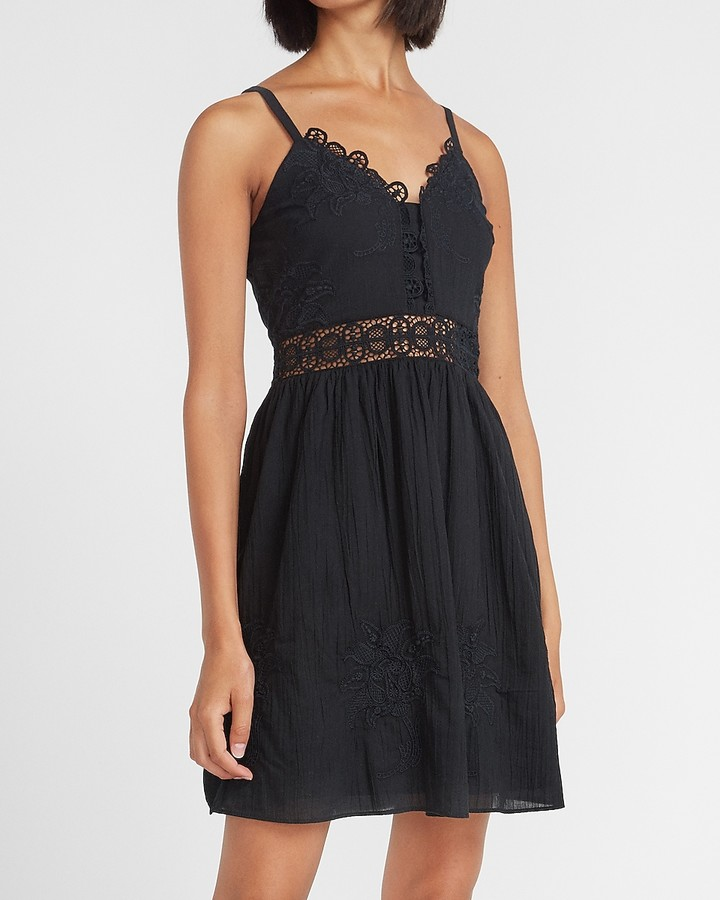 Express Lace Pieced Mini Dress