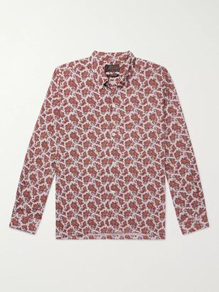 Beams Button-Down Collar Paisley Checked Woven Shirt