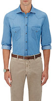 Luciano Barbera Men's Cotton Chambray Western Shirt-BLUE